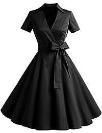Timormode Rétro Vintage Robe Années 50 's Style Audrey Hepburn Rockabilly Swing,Plissé Robe de Soirée Cocktail Cérémonie pour Mariage Robe de Bal à Manches Courtes