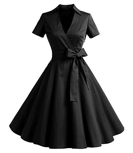 Timormode Robe Années 50's Audrey Hepburn Rockabilly Swing,Plissé Robe à Manches Courtes 10084Black 2XL