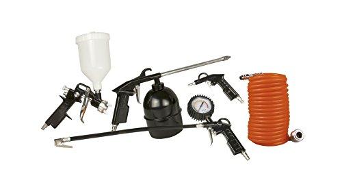 FERM ATM1036 Druckluftwerkzeug-Set - 5-Teilig - Mit Farbspritzpistole mit Fließbecher, Sprühpistole, Riefenfüller mit Manometer, Ausblaspistole, 5m Spriralschlauch mit DIN Anschluß