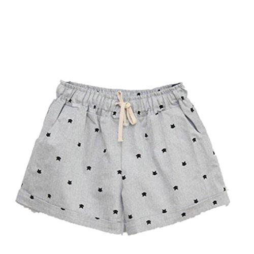 Femme Désinvolte Loose Shorts Imprimé Shorts de Plage Pantalon Large Taille Elastique Gris