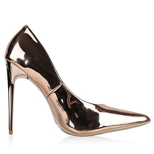 Spitze Damen Pumps Stiletto High Heels Lack Metallic Schuhe Partyschuhe Lackleder-Optik Hochzeit Jennika Rosa Metallic