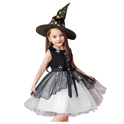 Hexe Kostüm Kinder Machen - Riou Halloween Kostüm Mädchen Party Cospaly Costume Hexen Kostüm Mesh Tutu Rock Prinzessin Kleider + Hexen Hut Babykleidung Outfits Set (130, Schwarz)