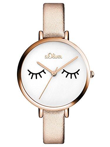 s.Oliver Damen Analog Quarz Armbanduhr mit Leder Armband SO-3533-LQ