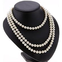 9dc10dc2a9a6 Postizas acrílicas Ardisle blanco perla drop Pearl collar con colgante en  forma de cuentas 150 cm