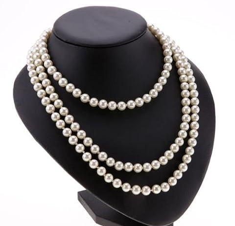 Ardisle False Pearl white drop pearl necklace Beaded 150cm Long Chain Rope Bead