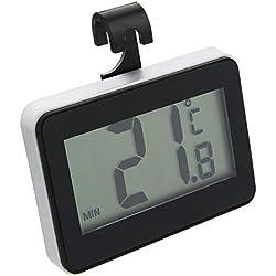 Pmall [Améliorer] Thermomètre de réfrigérateur numérique avec thermomètre, thermomètre de congélateur numérique étanche avec Affichage ACL Facile à Lire (Suspendu, Debout et bâton magnétique)