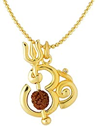 Dare by Voylla Gold Plated 'OM' Pendant Chain with Rudraksha Bead Jewelry Gift for Him, Boy, Men, Father, Brother, Boyfriend