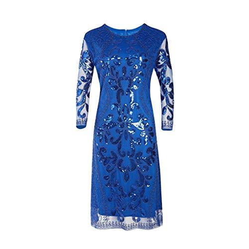 Damen Abendkleider Mode Pailletten Kleid 1920er Jahre inspiriert Vintage Perlen Lange Quaste Party Club Einsätze Kleid Bankett Kleid Blau XL