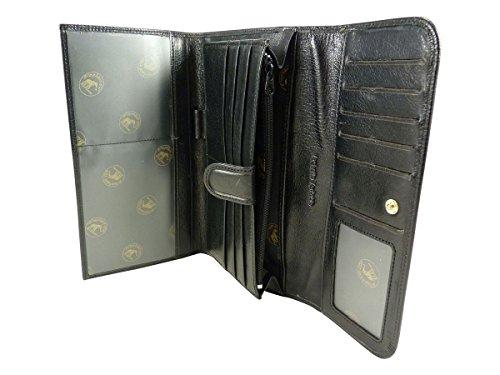 Compagnon, tout en un, porte chéquier portefeuille monnaie 12 CB cuir de vachette Noir