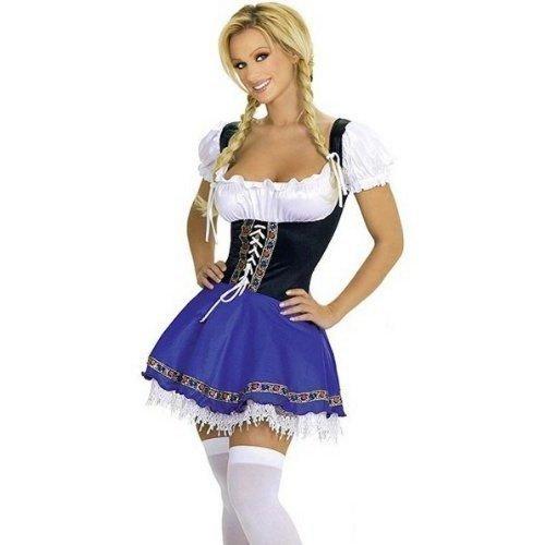 Damen Dienst Dirndel Oktoberfest Schwedisch Deutsche Bier Mädchen Sexy Kostüm Kleid Outfit UK 10-20 - Women: 18