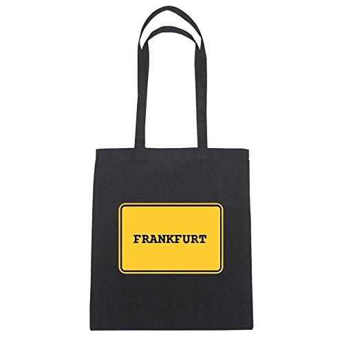 JOllify Frankfurt Borsa di cotone B296 schwarz: New York, London, Paris, Tokyo schwarz: Ortsschild