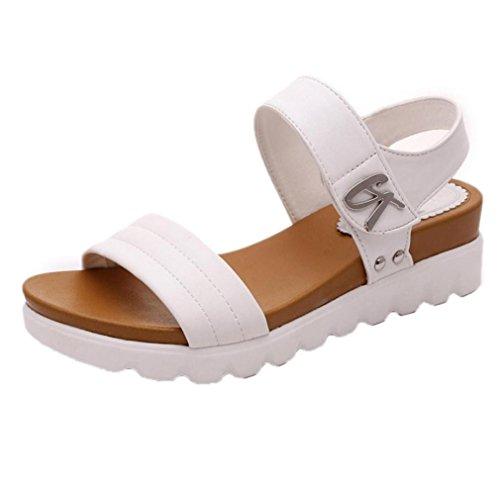 Sandalias Bohemia mujer, Manadlian Sandalias de verano para mujer Moda Zapatos comodos Sandalias planas Playa Zapatos de tacón alto Zapatos de boda (CN:42, Blanco)