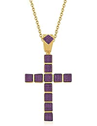 """Silvernshine 1.25 Ct Round Pink Sapphire Cross Pendant 18"""" Chain Necklace 14K Yellow Gold Fn"""