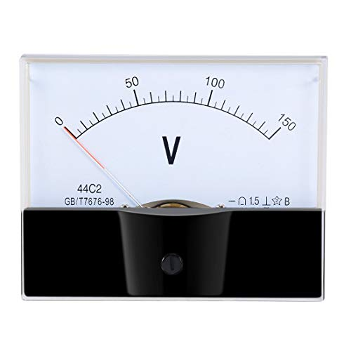 ZCHXD DC 0-150V Analog Panel Voltage Gauge Volt Meter 44C2 1.5% Error Margin White Black -