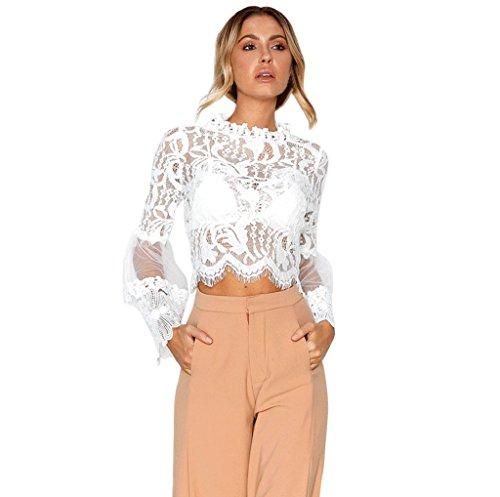 SEWORLD Frauen Sommer Casual Lace Tops Mode Elegante Aushöhlen Langarm Bluse Oberteile (Weiß,L)