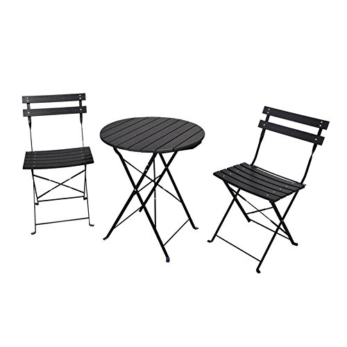 3 Piece Garden Bistro Set, Outdoor Furniture Round Folding Table & 2 Chairs Set, All Weather Resistant Wood-plastic Material, Rust-proof Powder-coated Metal Frame