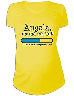 Calledelregalo Regalo Personalizable para Mujeres Embarazadas: Camiseta 'Futura Mamá' Personalizada con su Nombre...