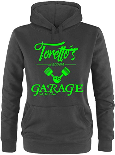 EZYshirt® Toretto´s Garage Damen Hoodie Schwarz/Neongrün