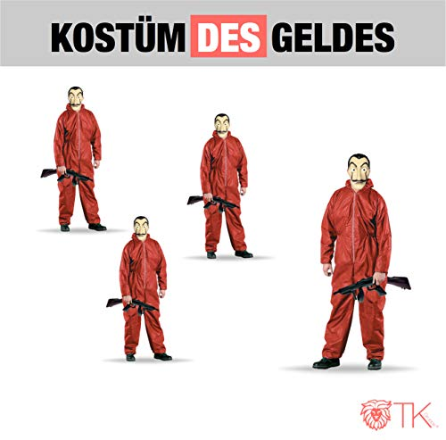 5x Kostüm Set des Geldes Kostüm Verkleidung casa del papel Bella Ciao Haus für Herren, Damen Erwachsene mit Maske, Overall rot, Maschinengewehr bekannt aus Haus des Geldes (5x Kostüm Set) - Roter Overall