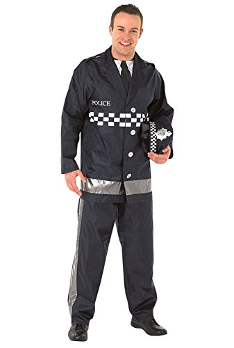 Official Policeman Costume for Men in 3 Sizes. Includes  jacket with attached shirt and bib, trousers and a cap.