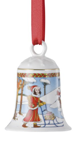 Hutschenreuther Weihnachtsglocke 2010 Im Zimmerwald, mit Originalverpackung, Porzellanglocke Weihnachten Baumschmuck Glocke Design von Ole Winther / Porcelain bell / Campanella porcellana -