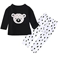 Le SSara Bambini t-shirt manica lunga orso & Dot pantaloni 2pcs set