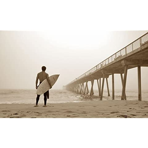 In The Mist by Jason Ellis 36x24 Photograph Art Print Poster SURFER ON THE BEACH WITH SURFING BOARD READY TO CATCH A WAVE by ISI Posters