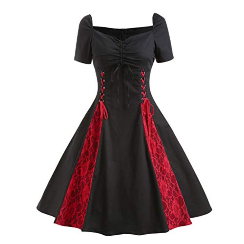 UFODB Gothic Kleidung Damen Steampunk Rock Spitze Hoch Niedriger Spitzenkleid Retro Vintage Röcke Halloween Party High Low Rüschen Punk Kleid Cocktailrock Cosplay Kostüm