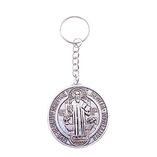 Silber Rund Medaille aus Metall San ST. Benedikt katholische Schlüsselanhänger 4.5cm Durchmesser
