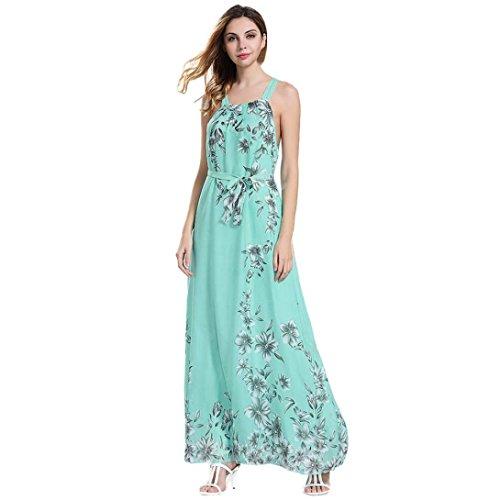 Angelof Maxi Robe Imprimé Floral éTé Longue Femmes Robe HabilléEs BohèMe Dames Robe De Plage sans Manches Grande Taille (M, Vert)