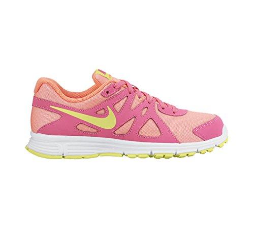 Nike Revolution 2 Gs, Chaussures de Sport Fille, Taille Blanc / Vert / Rose (White / Lqd Lime-Pnk Pw-Lv Glw)