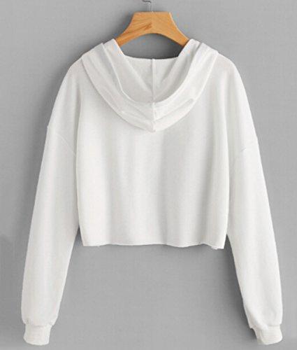 Minetom Femmes Sweats À Capuche Hoodie Sweatshirt Pullover Mode Casual Manche Longue Anglais Imprimer Tops Élégant Printemps B Blanc