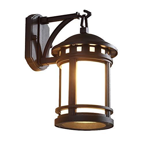 Wylolik Industrielle Vintage Wandleuchte Schwarz matt Zylindrischer Lampenschirm mit Alabaster-Schirm für Bar Treppe Dachboden Badezimmer Schlafzimmer Außenwandleuchte wasserdicht Veranda Balkonbeleuc -