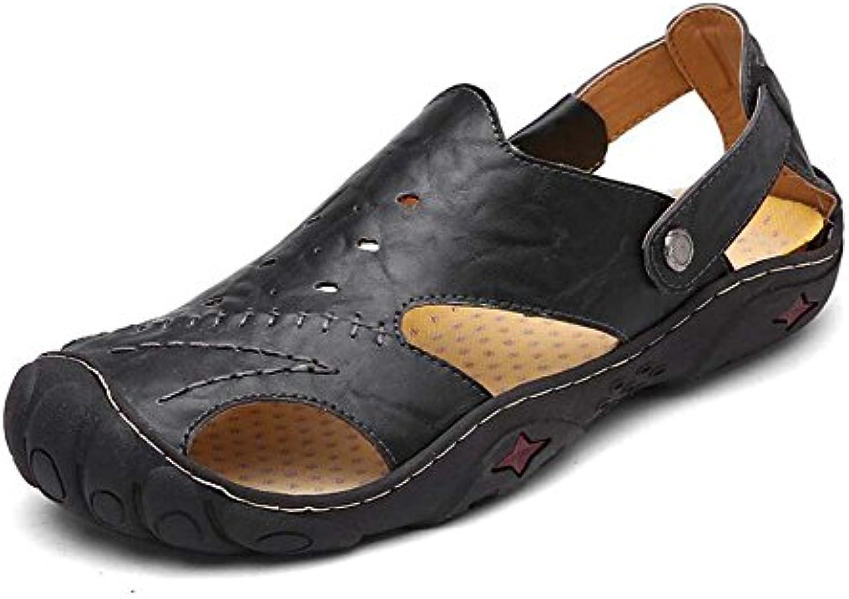 Männer Pump Outdoor Casual Sport Sandalen Leder Geschlossene Zehe Soft Bottom Solide Sandalen Mode Hohlen Atmungsaktive