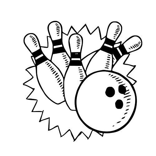 Weaeo Bowling Spiele Wandaufkleber Wohnkultur Wohnzimmer Vinyl Wandtattoos Kinder Kindergarten Wanddekoration Bowling Lustige Muster (Für Halloween-spiele Kindergarten Lustige)