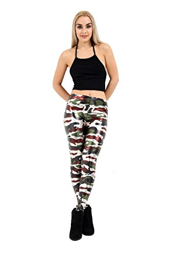 Janisramone - Legging - Leggings - Femme Noir * taille unique Brown And Green Army Print