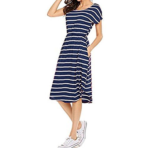 ❤️ Familizo Women's Fashion Short Sleeve Elastic Waist Striped Maxi Dress with Pockets Ladies Spring Summer New Trend Stripes Patchwork Casual Daily Party Work Beach Evening Dress Skirt