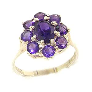 Luxury Solid Sterling Silver Natural AAA Grade Amethyst Cluster Ring - Size K
