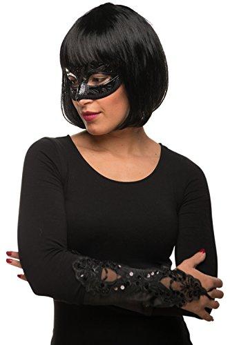 ob Cabaret Page Perücke schwarz + Maske + Handschuhe Fasching Karneval Kostüm - Verkleidung Frauen / Damen (Peruke Perücken)