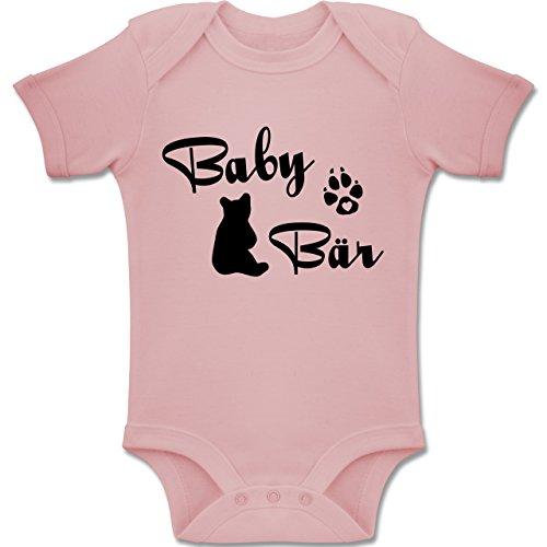 Shirtracer Strampler Motive - Baby Bär Lettering - 3-6 Monate - Babyrosa - BZ10 - Baby Body Kurzarm Jungen Mädchen - Bär Strampler