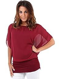 KRISP Women Oversized 2 In 1 Chiffon Blouse Batwing Jersey