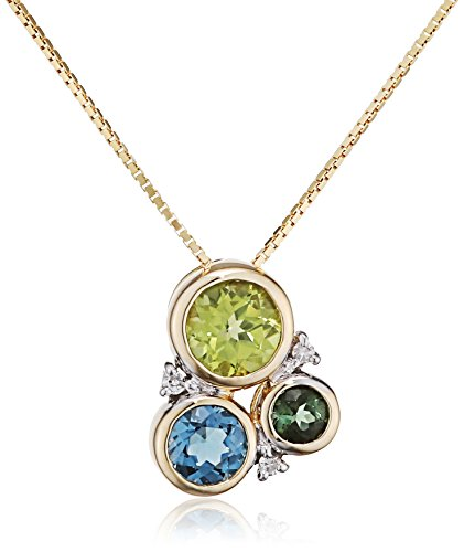Elements Gold 9ct Yellow Gold Diamond, Peridot, London Blue Topaz and Green Tourmaline Circle Pendant on a Chain of Length 46cm