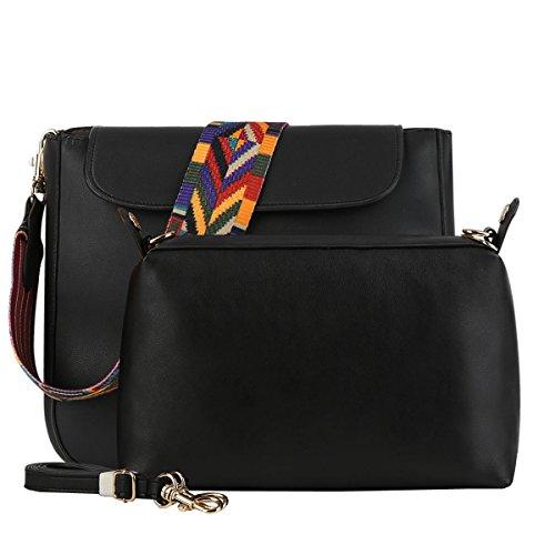 DISSA S863 neuer Stil PU Leder Deman 2018 Mode Schultertaschen handtaschen Henkeltaschen set,270×60×230(mm) Schwarz