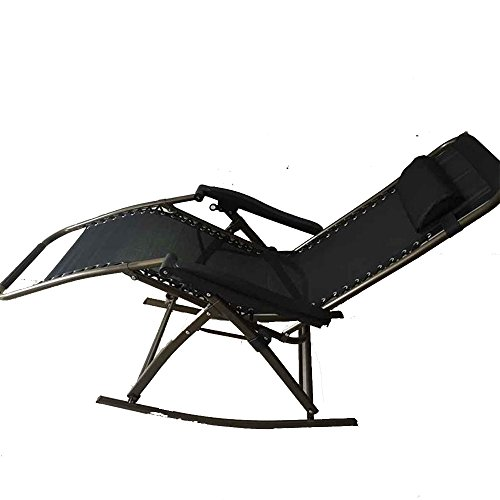 Chaise longue YNN Fauteuils inclinables Chaises Pliantes Chaise Pliante Lunch Break Lit Dossier Lounge Chair Fauteuil à Bascule Sit and Lie Chair Chaise de Plage Chaise de pêche (Couleur : Noir)