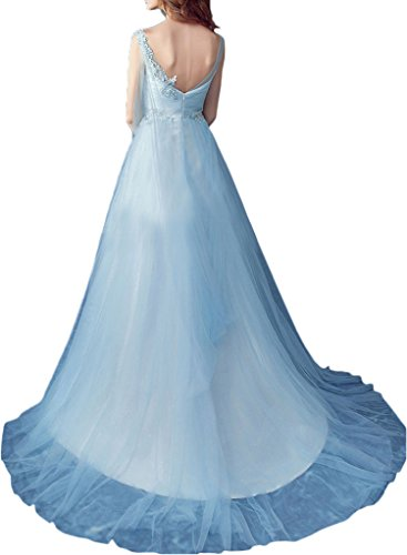 Milano Bride Glaezierend V-Ausschnitt Tuell Hochzeitskleider Brautkleider Brautmode Damen Schleppe Applikation Blau