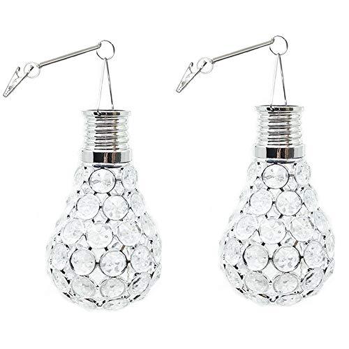 Nnight LED Solar-Leuchtmittel, für den Außenbereich, Garten, Camping, Hängeleuchte, Wasserdichte Perlen, rotierend, kühles Weiß, 2 Stück warmweiß