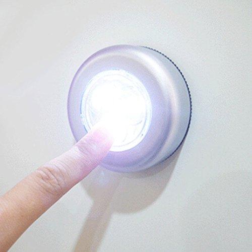 P12cheng Lámpara táctil, Mini Wireless 3 LED Push Touch Lámpara Cocina Gabinete Armario Noche Luz...