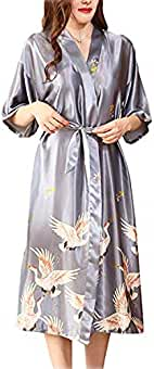 ARBLOVE Kimono Mujer Bata Novia Albornoz Largos de Satén