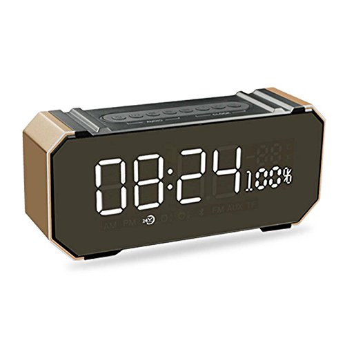 GUANGMING77 Intelligente Computer - Subwoofer Handy Wlan Tragbare Karte Im Kleinen Audio - Wecker Bluetooth - Lautsprecher Größe: 192X52X84Mm,Luxus - Goldene Farbe,Offizielle Kennzeichnung