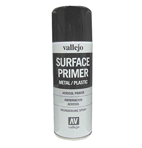 Vallejo 28012. Spray Pintura Imprimacion Negra de grano extrafino, para superficies de plastico o metal